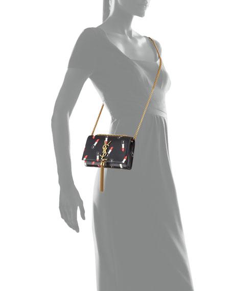 Saint Laurent Monogram Small Lipstick-Print Crossbody Bag, Black