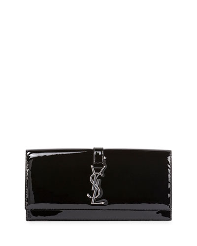 Monogramme Patent Punk Chain Clutch Bag, Black