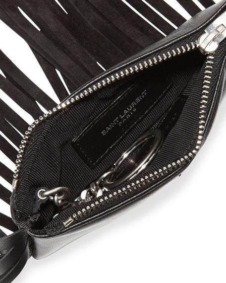 Monogram Fringe Beaded Pouch, Black