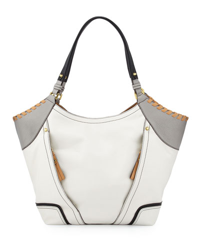 Tegan Leather Shopper Tote Bag, White/Multi