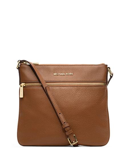 Bedford Flat Leather Zip Crossbody Bag, Luggage