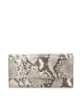 Kiera Embossed Leather Wallet, Black/Natural