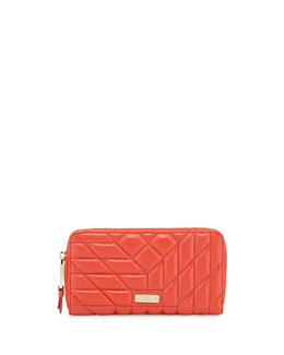 Clara Quilted Leather Wallet, Geranium