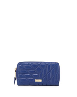 Clara Quilted Leather Wallet, Sapphire