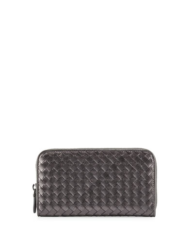 Intrecciato Continental Zip-Around Wallet, Silver