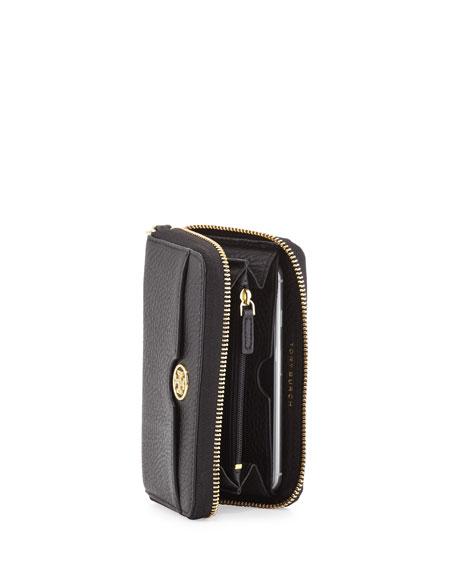 Robinson Pebbled Leather Smartphone Wristlet Wallet, Black