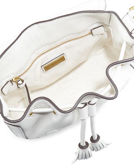Frances Pebbled Leather Saddle Bag, New Ivory