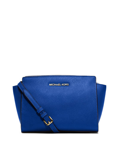 Selma Medium Saffiano Messenger Bag, Electric Blue