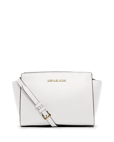 Selma Medium Saffiano Messenger Bag, Optic White