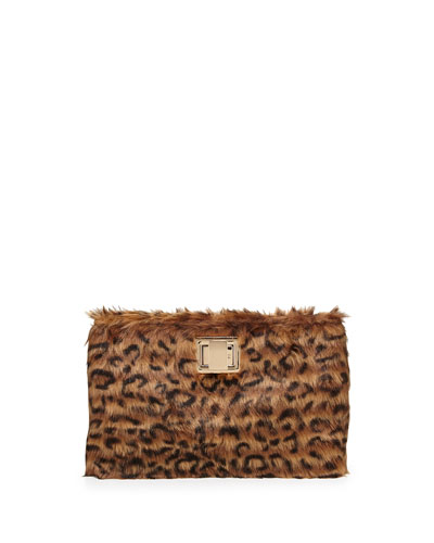 Faux-Fur Evening Clutch Bag, Brown Leopard