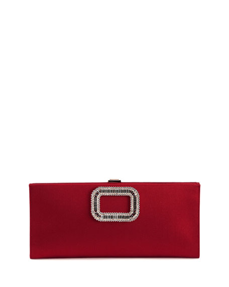 Roger Vivier Crystal Pilgrim Buckle Clutch Bag, Cherry