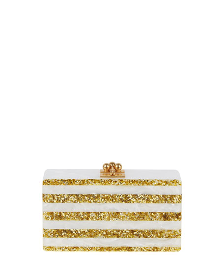 Edie Parker Jean Confetti-Striped Box Clutch Bag, White/Golden