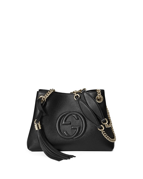 Gucci Soho Extra-Small A-Shape Leather Shoulder Bag, Nero