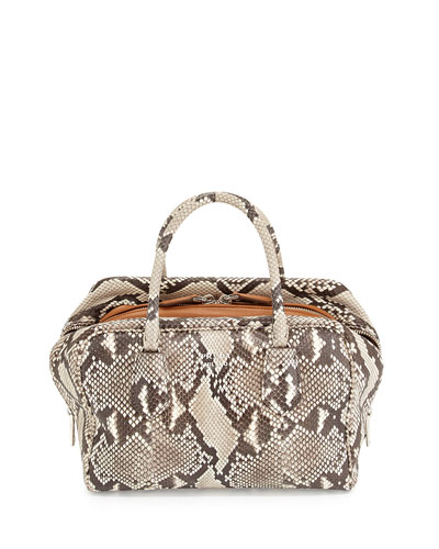 Medium Python Inside Bag, Stone/Caramel