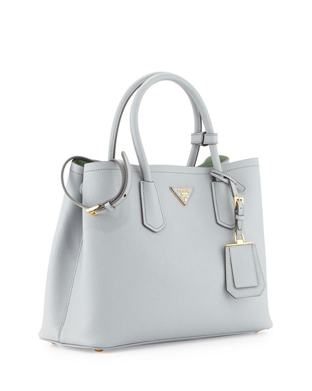 Saffiano Cuir Small Shoulder Bag, Pale Gray/Aqua (Granito/Acquamarina)