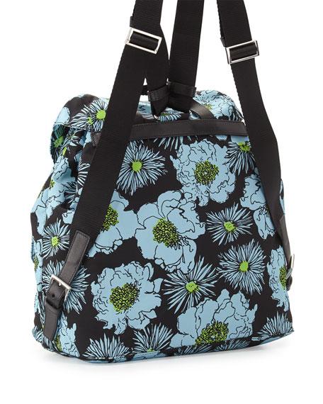 Tessuto Stampato Floral Backpack, Blue (Azzurro Dis Fiore)