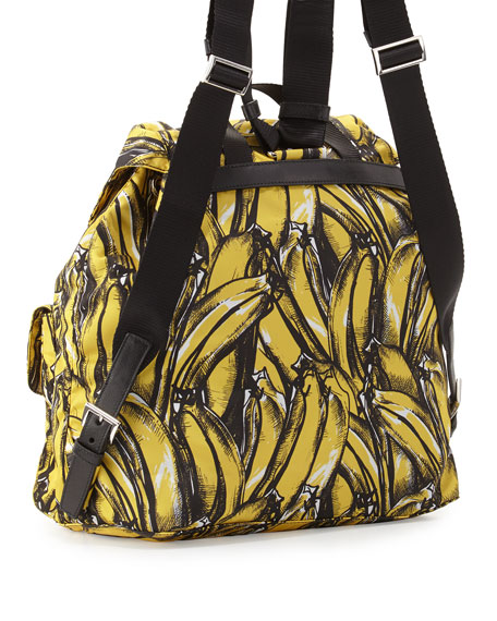 Tessuto Stampato Banana-Print Backpack, Yellow (Giallo dis Banana)