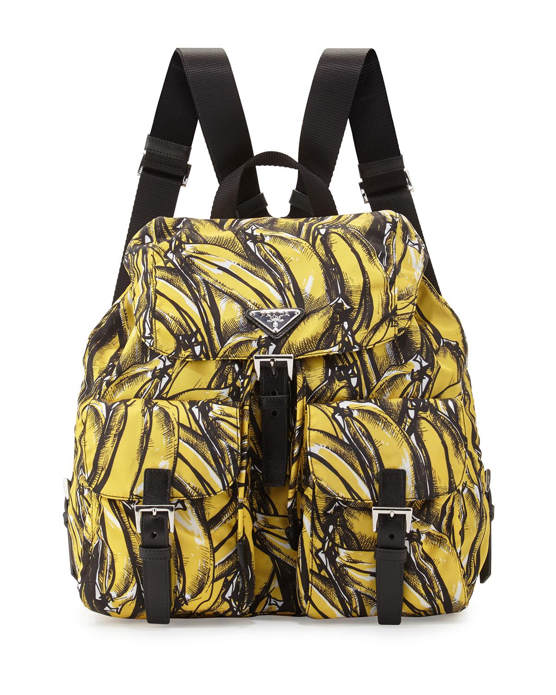 6c274b0e8de7a9 Prada Tessuto Stampato Banana-Print Backpack, Yellow (Giallo dis Banana)