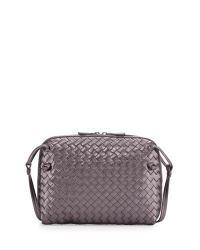 Intrecciato Messenger Bag, Silver