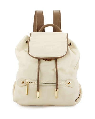 Two-Tone Leather Backpack, Chalk Multi