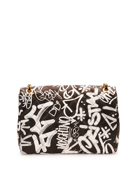 Graffiti-Print Quilted Shoulder Bag, Black/Multicolor