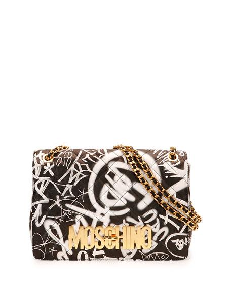 Graffiti-Print Quilted Shoulder Bag, Black/Multicolor