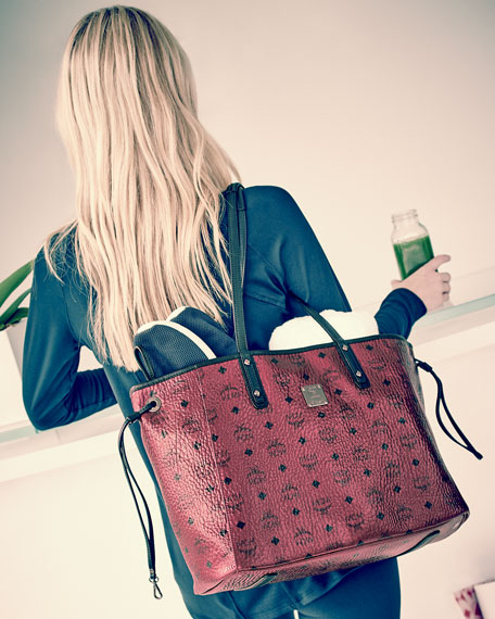 Mcm Shopper Project Visetos Reversible Tote Bag Metallic
