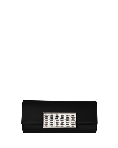 Ritz Fizz Crystal-Buckle Clutch Bag, Black/Silver