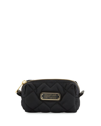 Crosby Quilted Nylon Small Cosmetics Bag, Black