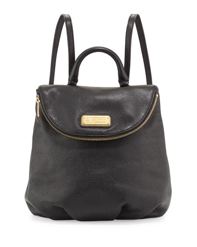 New Q Mariska Leather Backpack, Black