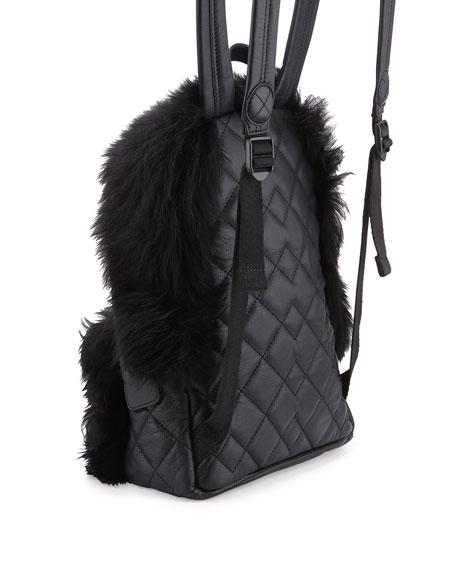 Domo Fur-Trim Leather Biker Backpack, Black