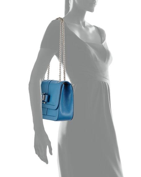 Christian Louboutin Sweet Charity Small Calfskin Shoulder Bag, Ocean