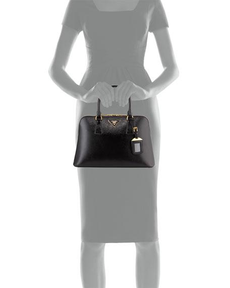 prada chain strap bag - Prada Saffiano Double-Handle Small Trapezoid Tote Bag, Black (Nero)