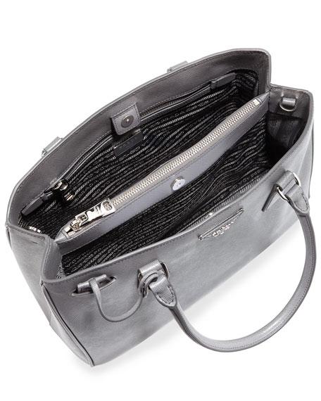 Saffiano Small Double-Handle Tote Bag, Gray (Marmo)
