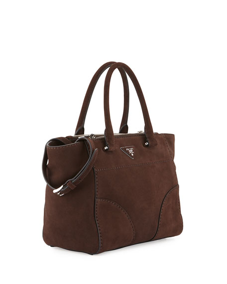 Prada Suede Small Double-Zip Tote Bag, Brown (Cafi)