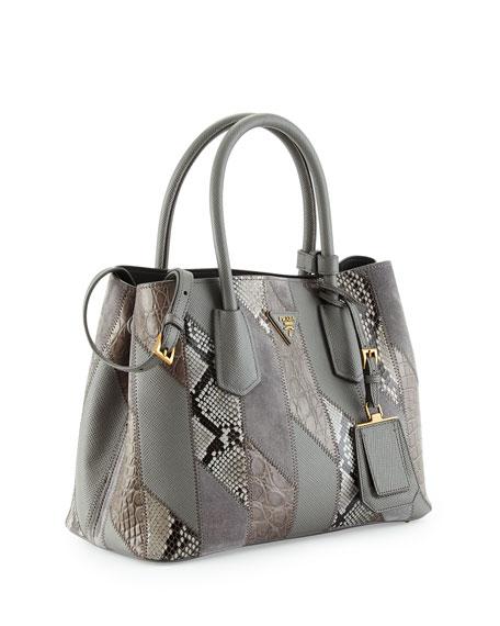 Prada Small Python/Leather/Crocodile Tote Bag, Gray (Marmo)