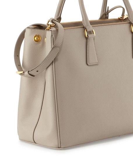 Saffiano Small Double-Handle Tote Bag, Light Gray (Pomice)