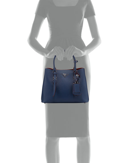 Prada Small East-West Saffiano Tote Bag, Blue (Bluette)