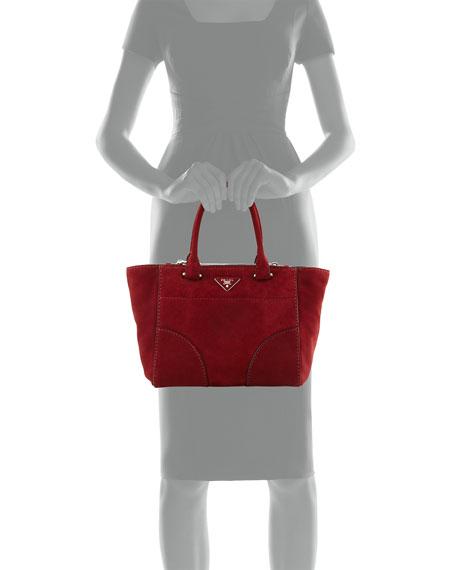 prada replica handbag - Prada Suede Small Twin-Pocket Tote Bag, Dark Red (Porpo)