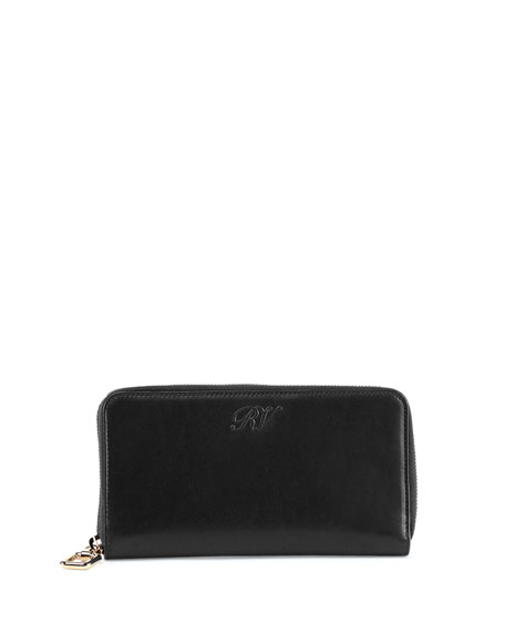 Roger Vivier Selleria Calfskin Zip Wallet, Black