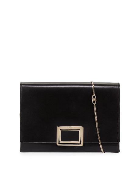 Soft Calfskin Leather Envelope Clutch Bag, Black