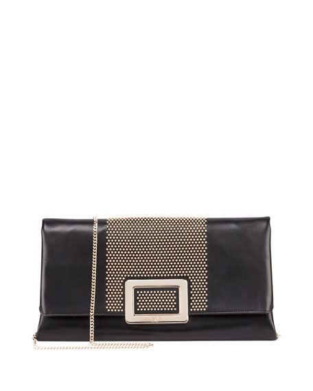 Roger Vivier Ines Small Studded Clutch Bag, Black