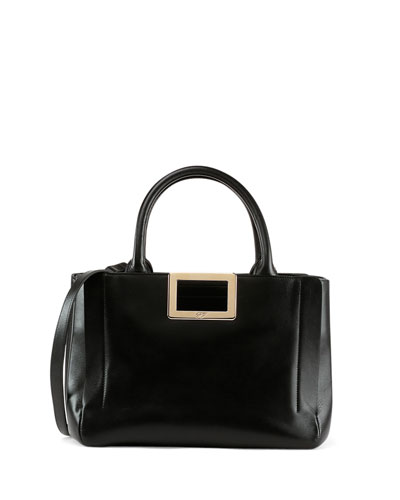 Ines East-West Small Tote Bag, Black