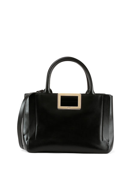 Roger Vivier Ines East-West Small Tote Bag, Black
