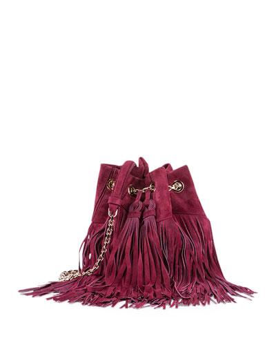 Prismick Suede Fringe Bucket Bag, Fuchsia