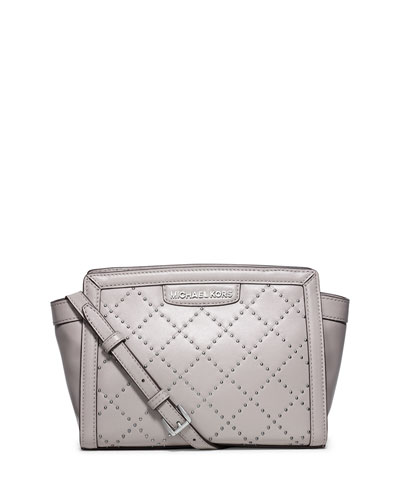 Selma Quilted Micro-Stud Medium Messenger Bag, Pearl Gray