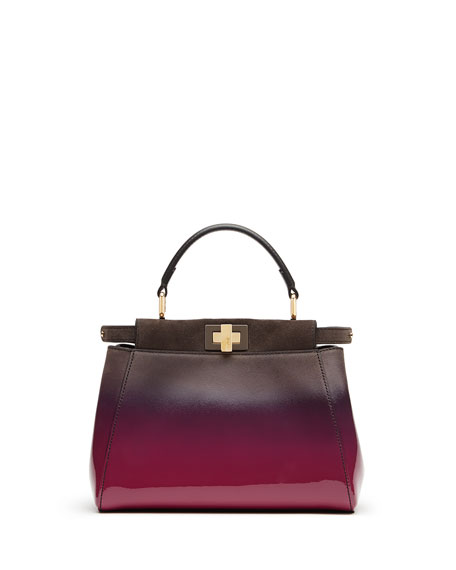 Peekaboo Mini Ombre Satchel Bag, Magenta