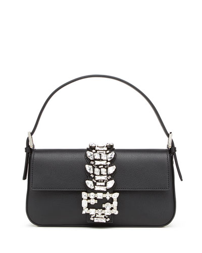 Calfskin Medium Baguette w/Crystal Strap, Black