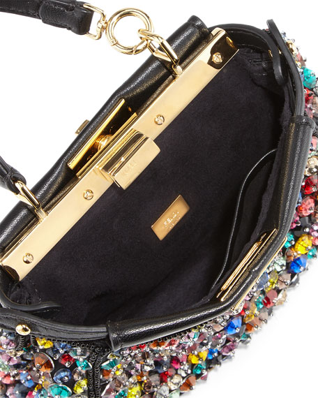 Peekaboo Micro Paillette Satchel Bag, Black/Multi