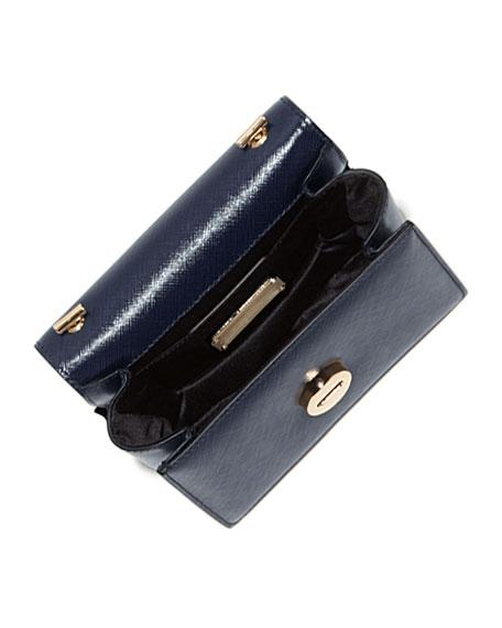 Ginny Mini Saffiano Crossbody Bag, Oxford Blue